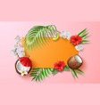 summer poster tropical leaves flower fruits vector image vector image
