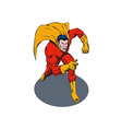 Super Hero Running Pointing Retro vector image vector image