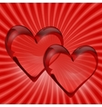 Two transparent hearts in rock crystal on a vector image vector image