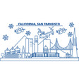 usa california san francisco winter city skyline vector image vector image