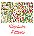 vegetables vegetarian seamless patterns set vector image vector image