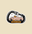 vintage camp patches logo mountain badge hand vector image vector image