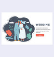 wedding couple banner vector image vector image