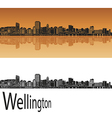 Wellington skyline in orange vector image vector image