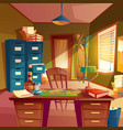 working space of detective office room vector image vector image