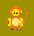 flat icon on background kids toy monkey vector image