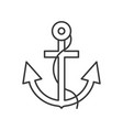 anchor and rope outline icon on white background vector image vector image