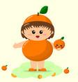 baby in an orange suit vector image vector image
