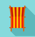 beach deck chair icon flat style vector image