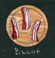 black chalk board background raw bacon slices on vector image