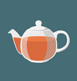 black tea hot drink teapot with golden brown tea vector image