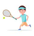 boy tennis player runs with a racket for ball vector image vector image