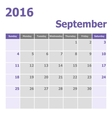 Calendar September 2016 week starts from Sunday vector image vector image