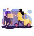 cartoon beauty woman near door and deliveryman vector image vector image