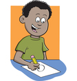 Cartoon Boy Writing vector image vector image