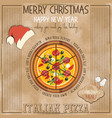 christmas pizza menu vector image vector image