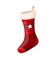 christmas red sock holiday design and traditional vector image vector image