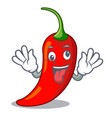Crazy red chili pepper isolated on mascot