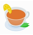 Cup of tea with mint and lemon icon vector image