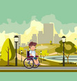disabled person in a city park vector image vector image