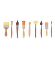 drawing tools set paint brushes in row on white vector image vector image