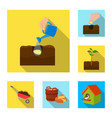 farm and agriculture flat icons in set collection vector image