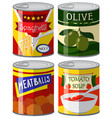 four types of canned food in set vector image vector image