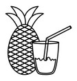 glass with juice pineapple vector image
