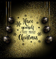 glittery christmas background with hanging baubles vector image vector image