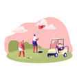 golf tournament young people playing sport game vector image