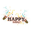 happy birthday horn ribbon white background vector image