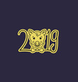 happy new year boars year 2019 vector image vector image