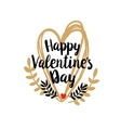 Happy Valentines Day on doodle heart vector image vector image