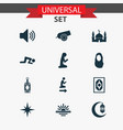 holiday icons set with bomb crescent adhaan and vector image vector image