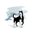 Husky Wild Dog Wolf Retro vector image vector image