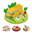 isometric bbq camper picnic party summer camp vector image vector image