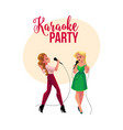karaoke party contest banner poster with two vector image vector image