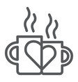 lovely mugs line icon romantic and love vector image