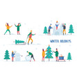 man and woman winter activity vector image vector image
