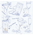 New Era Coctail Set on a notebook page vector image vector image