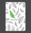 notebook template with feathers vector image vector image