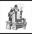 orthodox scribe creates a manuscript vector image vector image