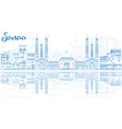outline sanaa yemen skyline with blue buildings vector image vector image