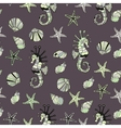 Pattern with sea shells starfish and horse vector image