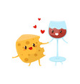 piece of cheese and glass of wine are friends vector image vector image