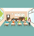 pupils sitting at desks in modern classroom young vector image