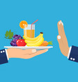 rejecting the offered healthy food vector image vector image