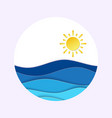 sea view in summer time with sunny weather icon in vector image vector image