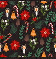 seamless pattern with christmas decor and flowers vector image vector image