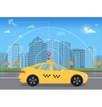 Self-driving intelligent driverless taxi car goes vector image vector image